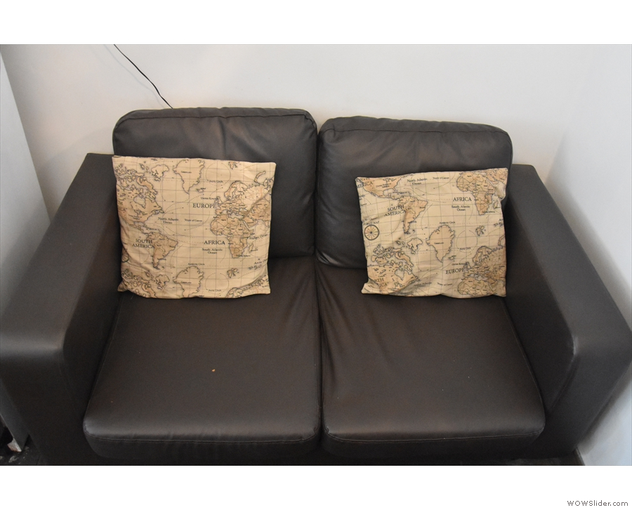The theme is continued with the cushions on the sofas...
