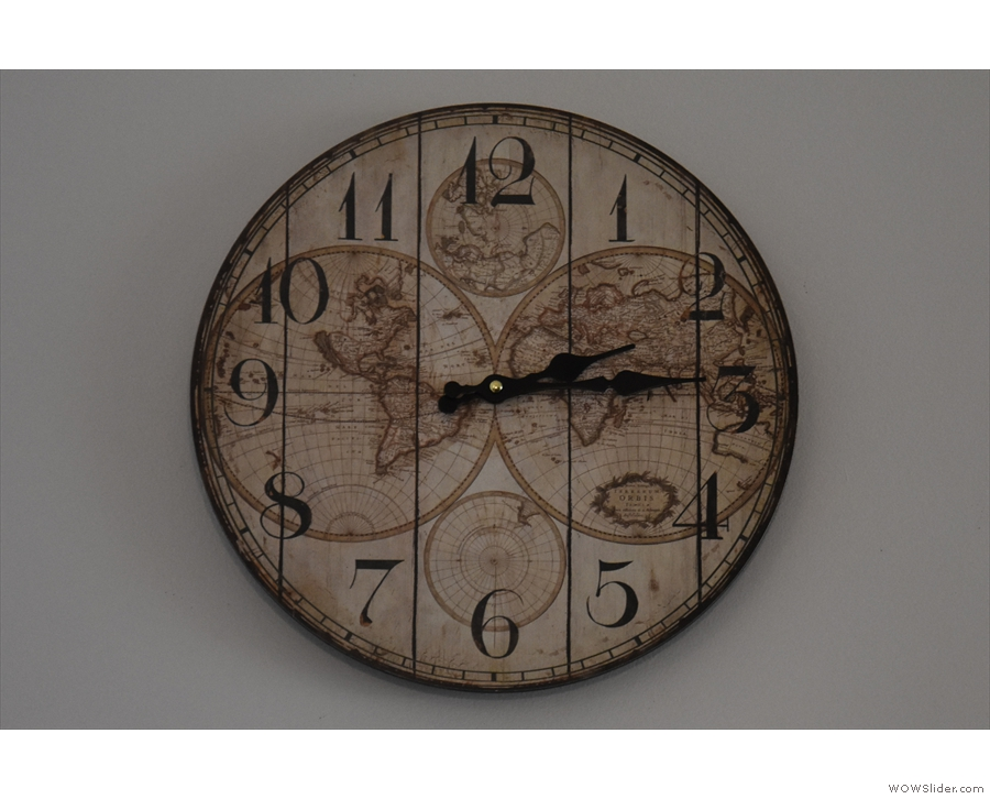 ... and on the clock on the wall.