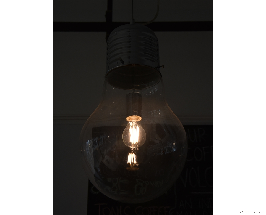 Obligatory light-fittng shot. I was fascinated by the filament's reflection in the bulb.