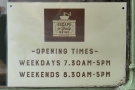 ... and the opening times.