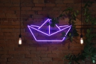 Paquebot has retained Cafe Plume's lights, adding this interesting neon logo on the wall.