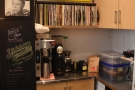 ... while in the corner is the batch-brewer and the cafe's collection of vinyl.