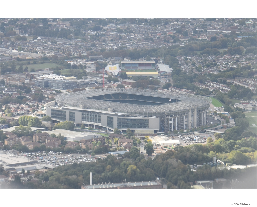 ... Twickenham, the international rugby stadium, with The Stoop in the background.