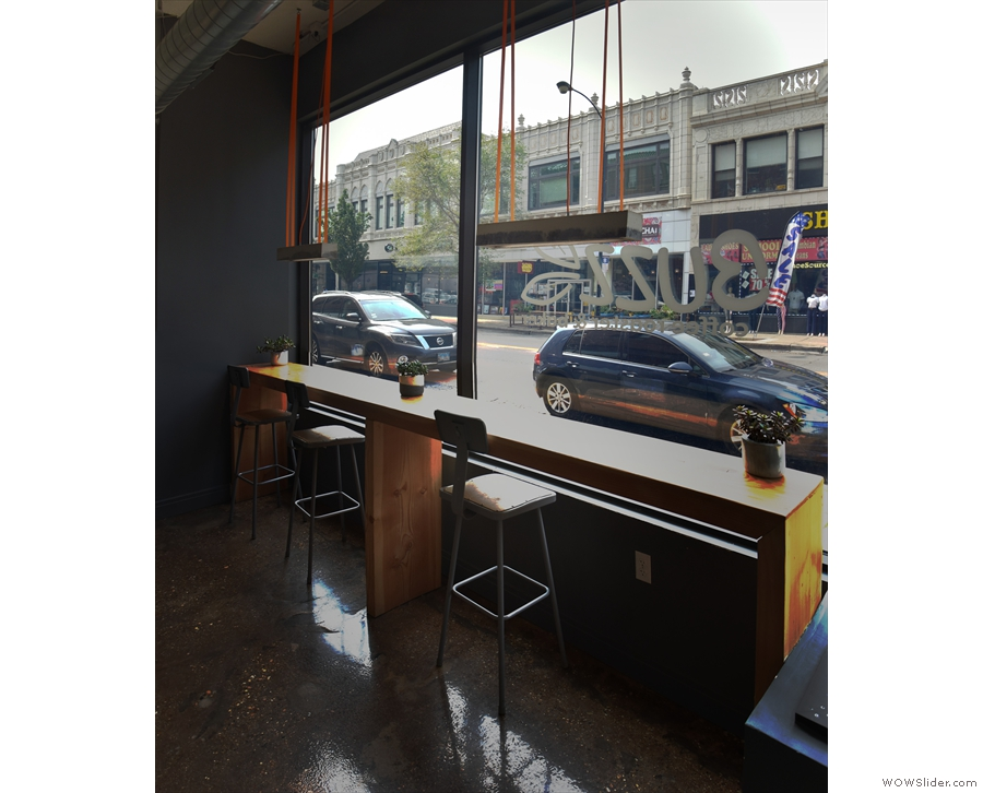 There's a generous window-bar looking out onto Milwaukee Avenue.