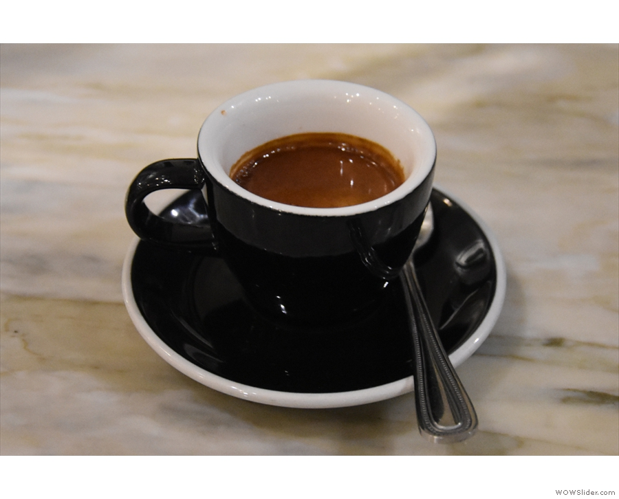 My espresso, the Old School blend, in a classic black cup, and looking, I have to say...