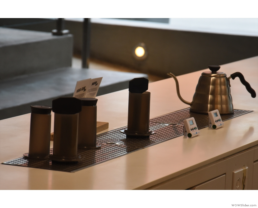 There's an Aeropress bar on the far side of the counter where you can try any coffee...