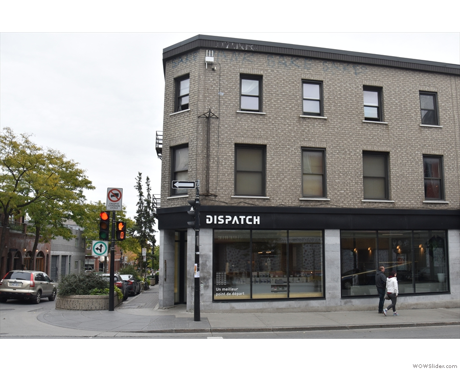 On Montréal's Boulevard Saint Laurent, at the corner of Avenue Duluth, is Dispatch Coffee.