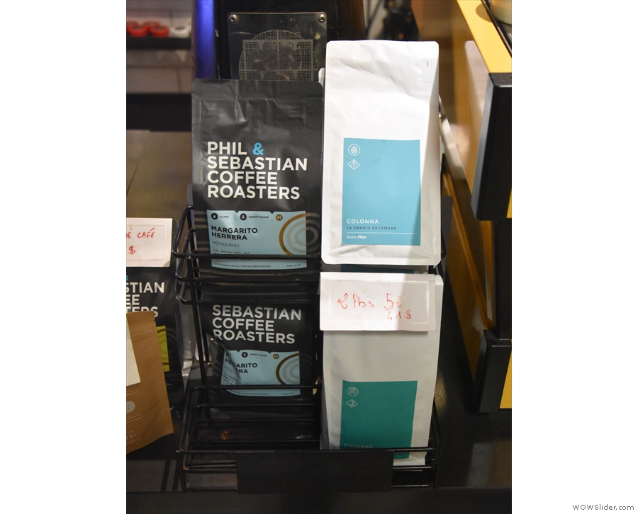 ... while there are bags of coffee for sale next to the till, including Colonna Coffee!