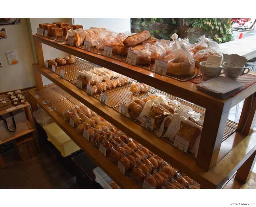 It's the takeaway bakery part, with shelves full of bread, rolls and pastries...