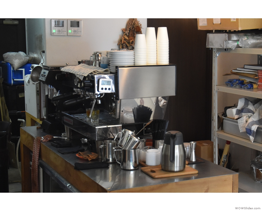 You'll also find the La Marzocco Linea espresso machine back here on the right...