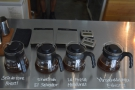 The carafes on the counter hold samples of each of the four single-origin filters...