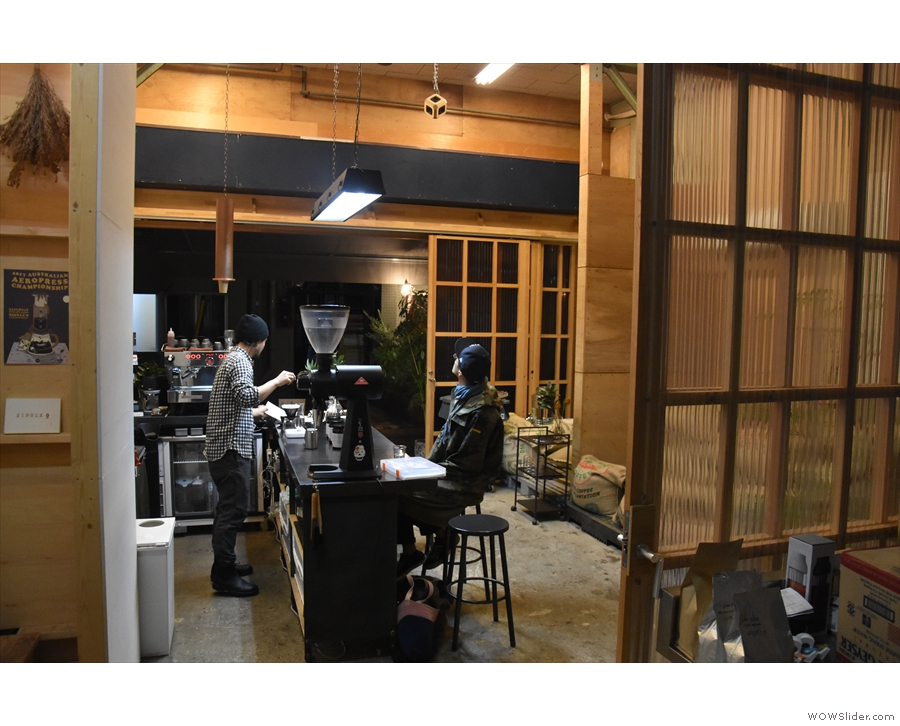Looking back into the tasting bar from the roastery.