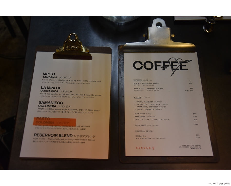 ... where there is a simple menu (right) and the choice of beans (left).