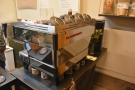 ... next to the shiny La Marzocco Linea espresso machine.