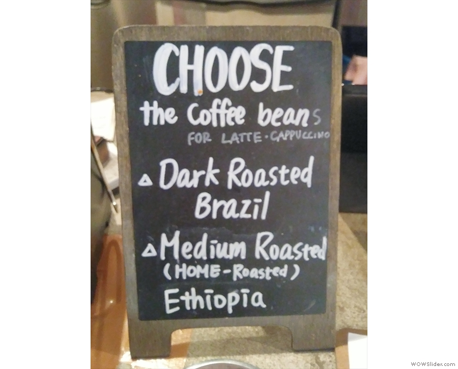 Sometimes (such as on my second visit) there's a choice on espresso, as shown here.