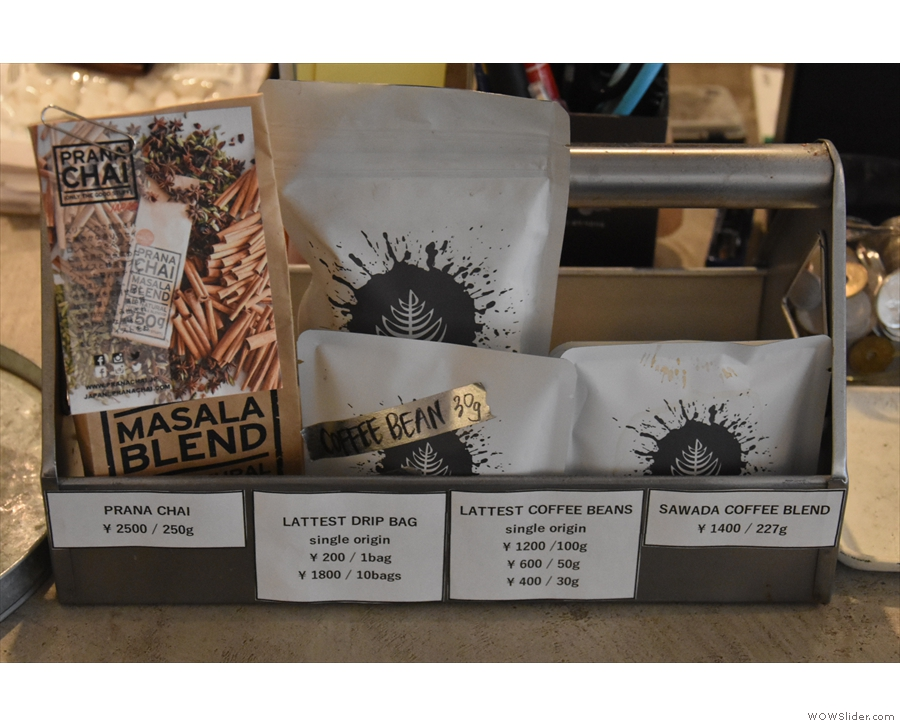 ... along with a small selection of retail bags of beans.