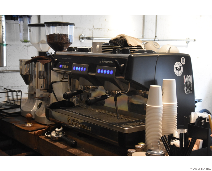 The heart of the operation is this Nuova Simonelli at the front of the counter...