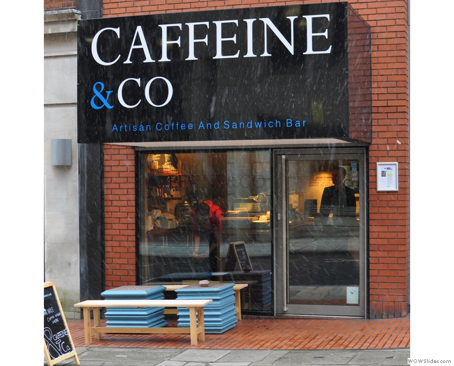 Caffeine & Co, or the Espresso Cube as I like to think of it, a delightful place in the centre of Manchester