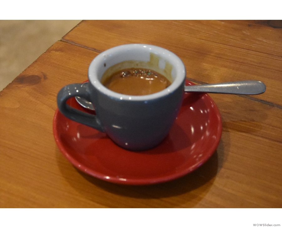 I couldn't stay for long, but I had to have an espresso, in this case a shot of Unkle Funka.