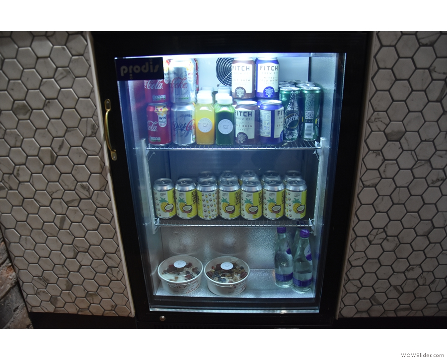 ... and a refridgerator for the soft drinks built into the front of the counter.