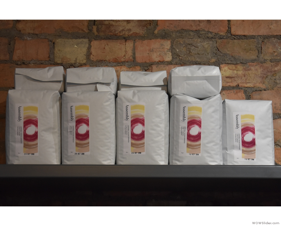 Naturally there are bags and bags of retail coffee from Assembly.