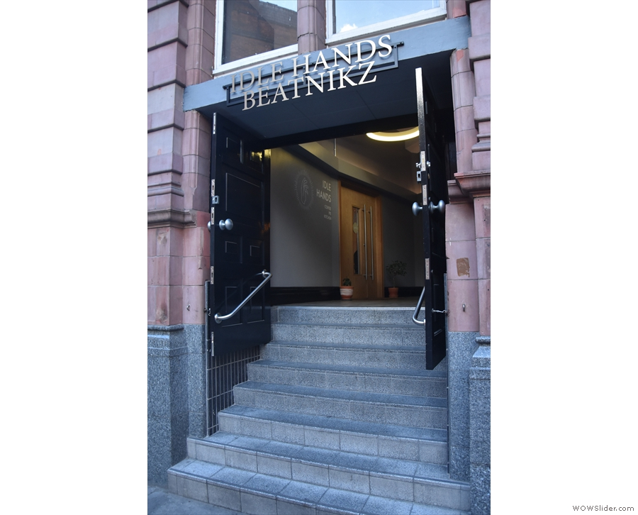 The entrance, which is shared with the bar, Beatnikz Republic, is up these steps...