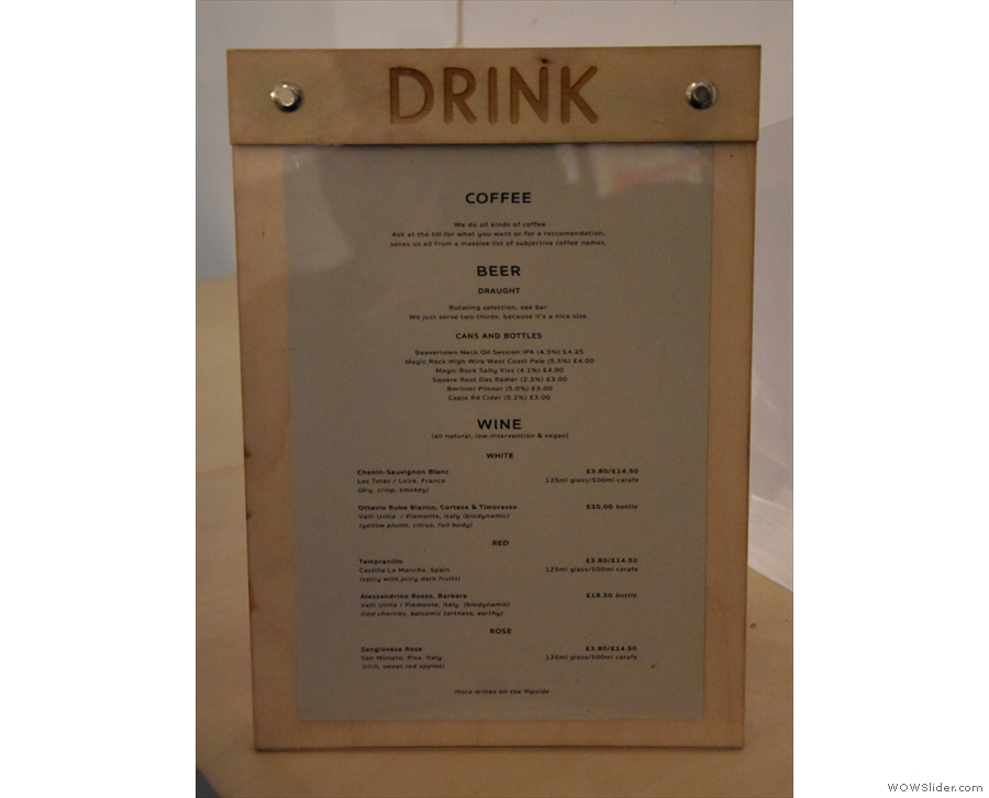... along with more menus for the coffee, beer, wine...