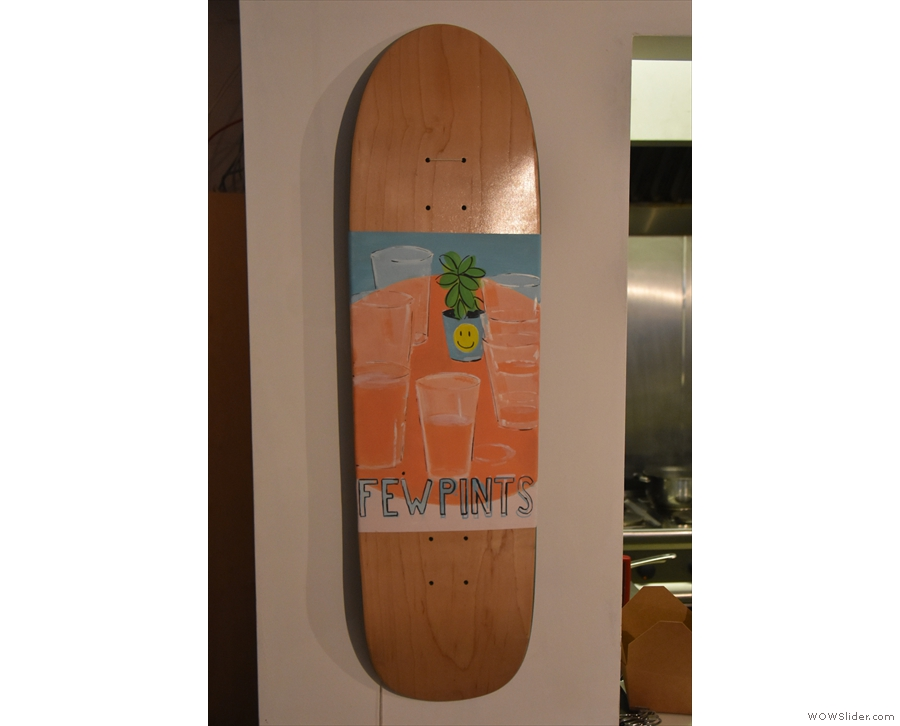 Idle Hands has lots of artwork displayed, all of which is for sale. Skateboard, anyone?
