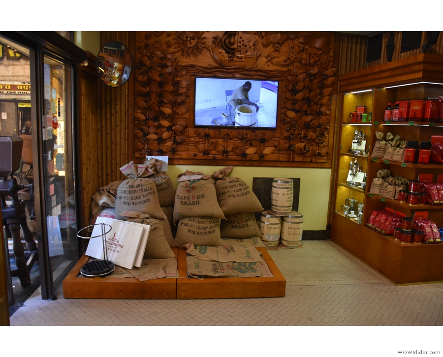There's a 2nd part to Tazza D'Oro. These bags of green beans are to the left as you enter.