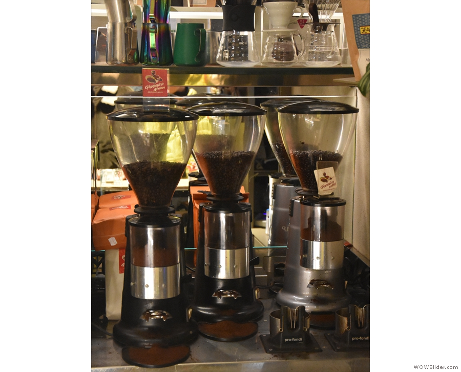These are kept in three grinders right at the front, behind the till...