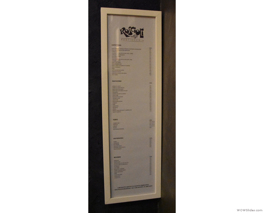 There's also a menu back here, one of the few I saw.