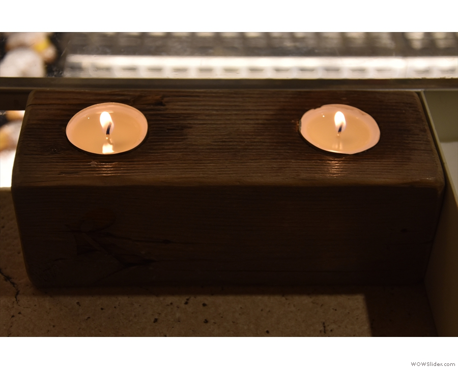 There are some nice touches, including these candles, which come out in the evneing.