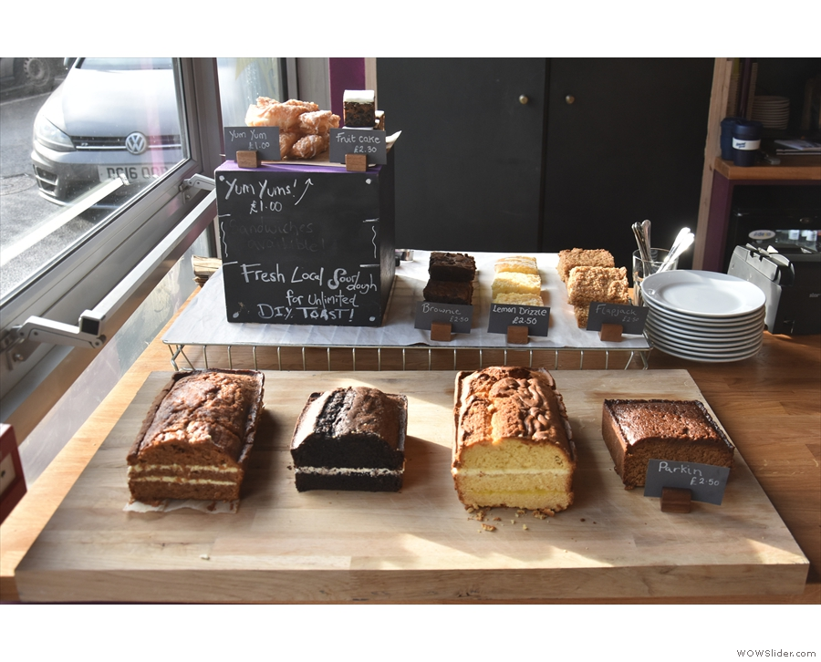 If you're hungry, there's a selection of cake available at the front of the counter...
