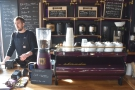 Down to business. Here's Josh by the purple La Marazooco Strada espresso machine.
