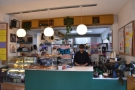 So to business. The counter fronts a large kitchen where all food and doughnuts are made.