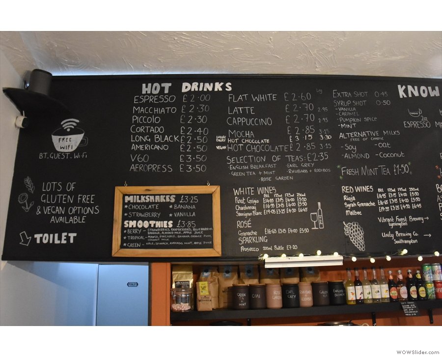 This is the corresponding menu, still above/behind the counter, from 2018.