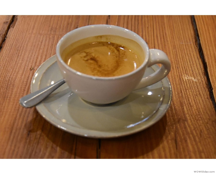 I started with an espresso, made using the Bobolink Brazilian single-origin...