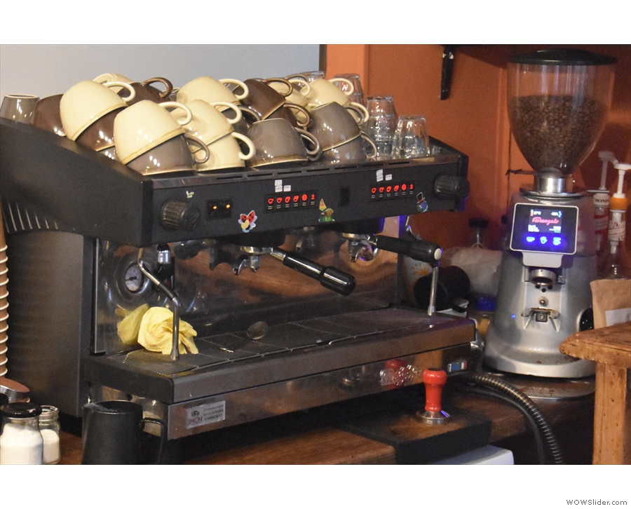 The espresso machine, meanwhile, is off to the left...