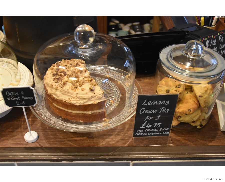 One of the many cakes on offer (next to a big glass jar of scones).