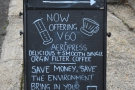 However, another A-board lets us know that things have changed: pour-over coffee!