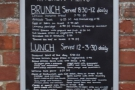 ... with a menu announcing when brunch and lunch are served (which is handy to know).