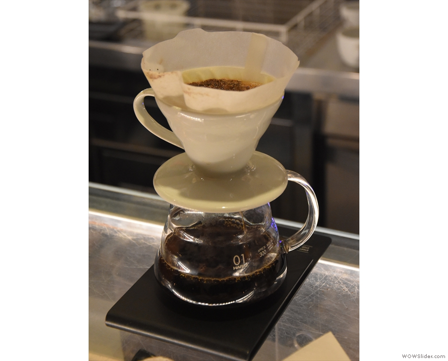Our V60 (of the El Salvador San Luis from Le Piantagioni), sitting on the counter...