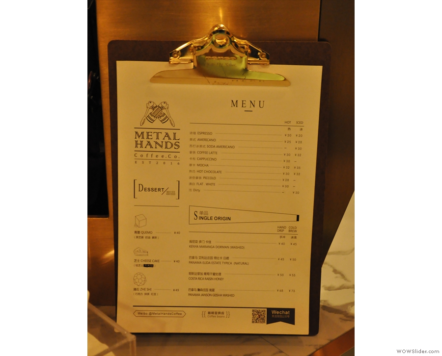 The menu, meanwhile, is at the front, offering a choice of four single-origin pour-overs.