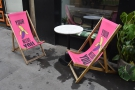 There's a solitary table and the trademark 'Your Banana Needs You' deckchairs outside.