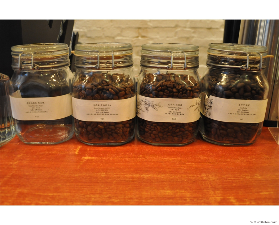 ... which is followed by the pour-over selection, displayed in glass jars.