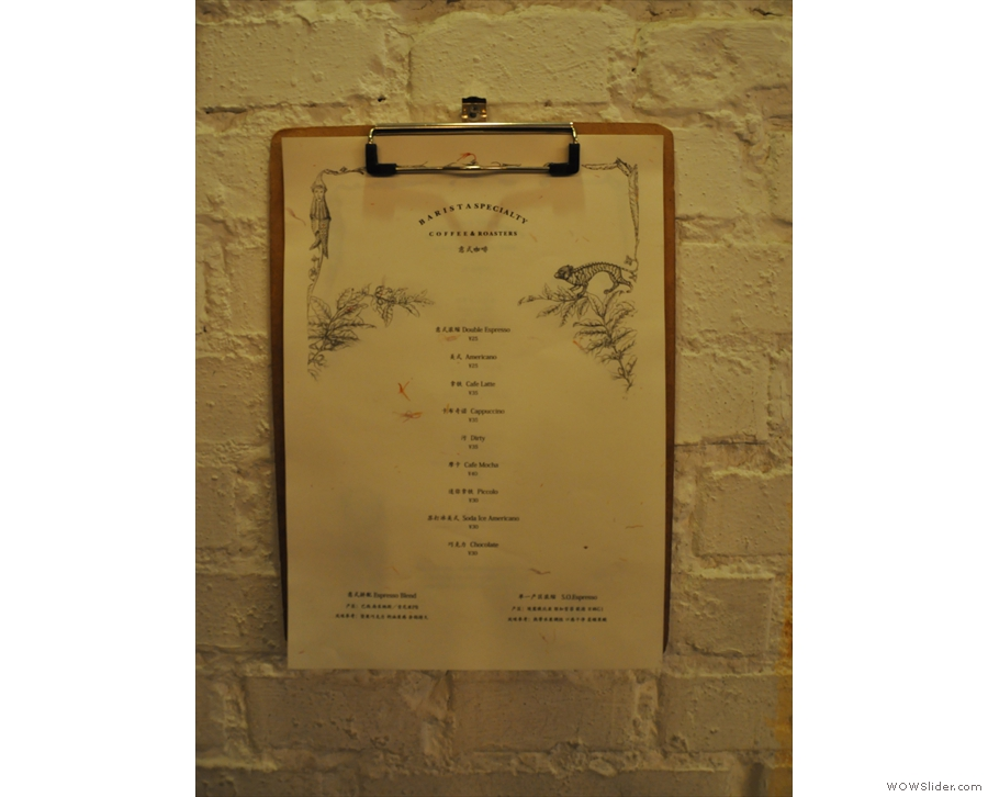 ... more conventional menu hanging on the wall (there's also a copy on the counter).