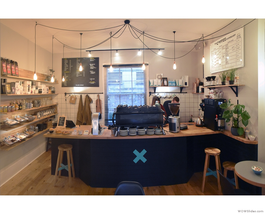 ... where you'll find the generous counter. As well as the two stools by the counter...