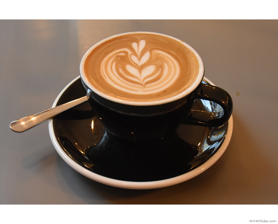 I had, for my first coffee of the day, a flat white made with Extract's Strongman Espresso.