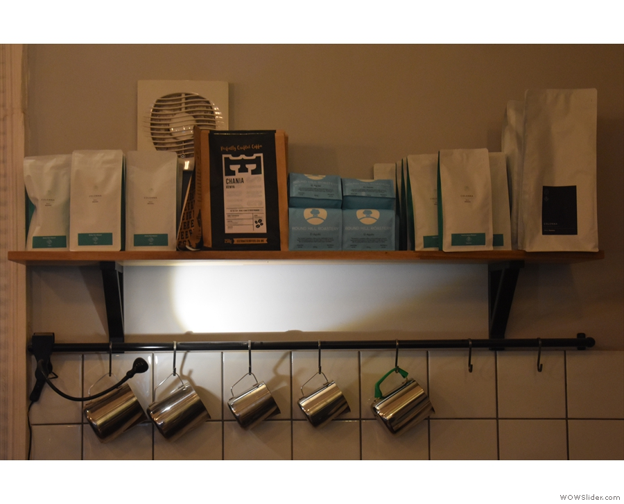 ... with the coffee itself on a shelf high on the back wall.