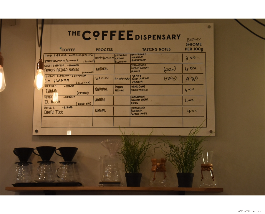 Finally, above the filters, you'll find the choice of coffee beans...